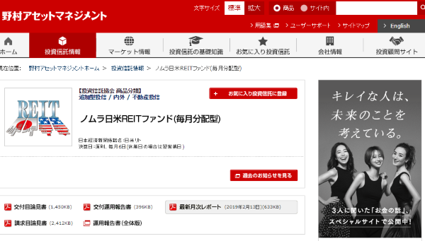 ノムラ 日米REITファンド(毎月分配型)