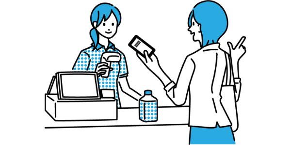 電子マネーを使う女性
