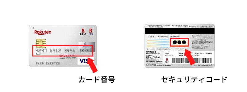 クレジットカードのカード番号とセキュリティコード